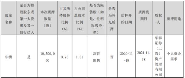 顺网科技控股股东华勇质押1050万股 用于个人资金需求