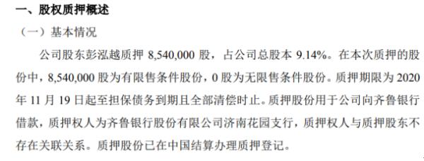 乾元泽孚股东彭泓越质押854万股 用于公司向齐鲁银行借款