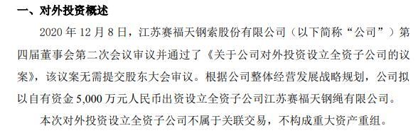 赛福天拟以自有资金5000万元出资设立全资子公司
