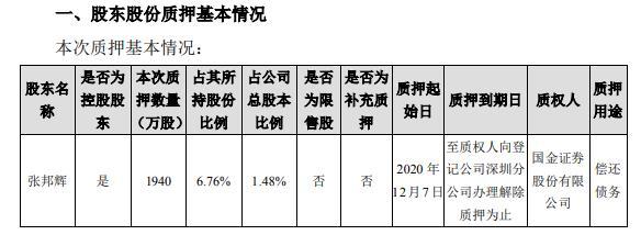 天邦股份控股股东张邦辉质押1940万股 用于偿还债务