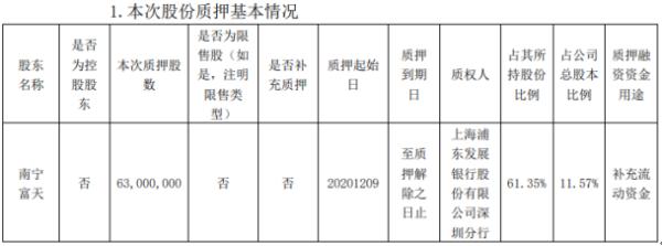 南宁百货股东南宁富天质押6300万股 用于补充流动资金