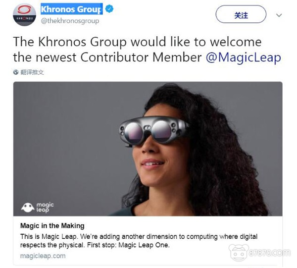 参与VR/AR行业标准制定 Magic Leap正式加入OpenXR联盟