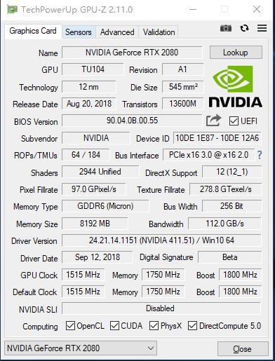 显卡识别工具GPU-Z 2.11.0发布:支持RTX 20图灵家族
