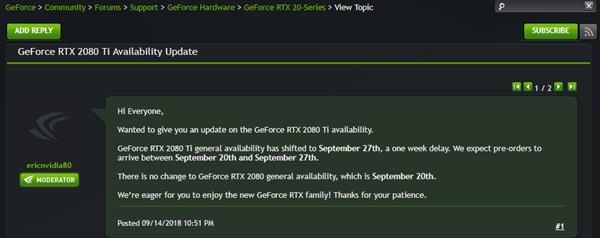 需求火爆?NVIDIA RTX 2080 Ti显卡将延期一周上市