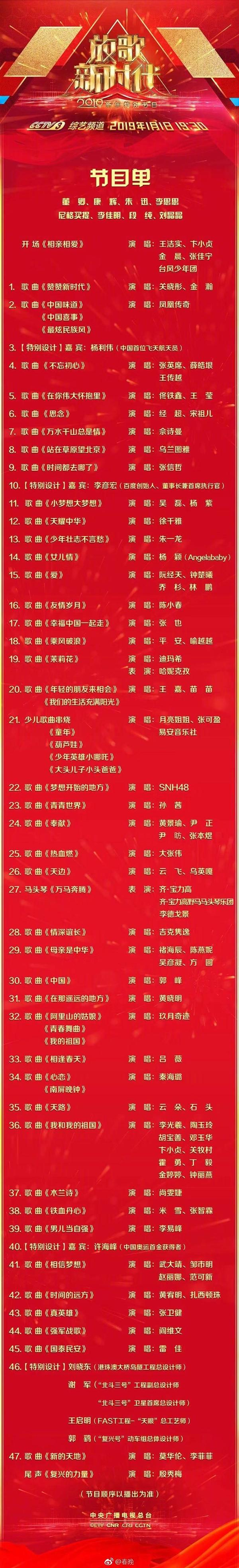 2019央视元旦晚会节目单公布:百度李彦宏登台