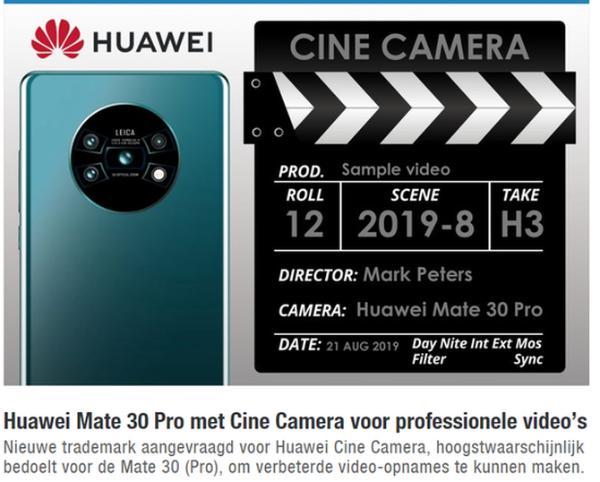 无敌了!华为申请电影相机商标,可能将用于华为Mate旗舰上