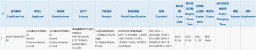 小米5G新机入网,是Redmi Note 9国行版还是Redmi 9?
