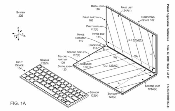 微软Surface Neo新专利:双屏自动调整显示区域