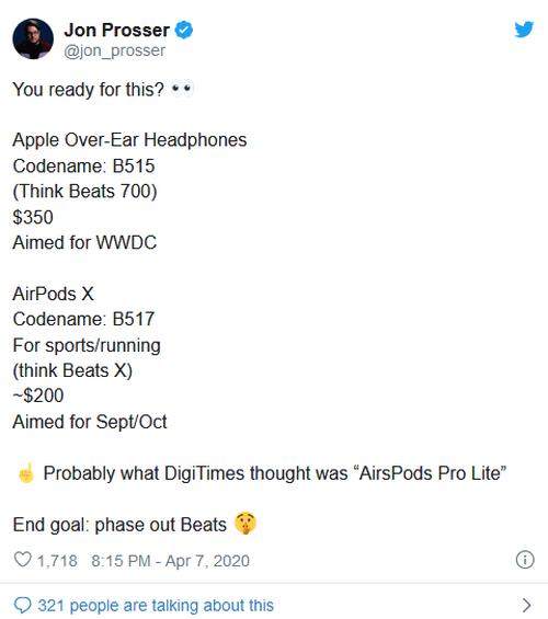 爆料苹果计划在今年6月发布首款自己品牌的录音师耳机