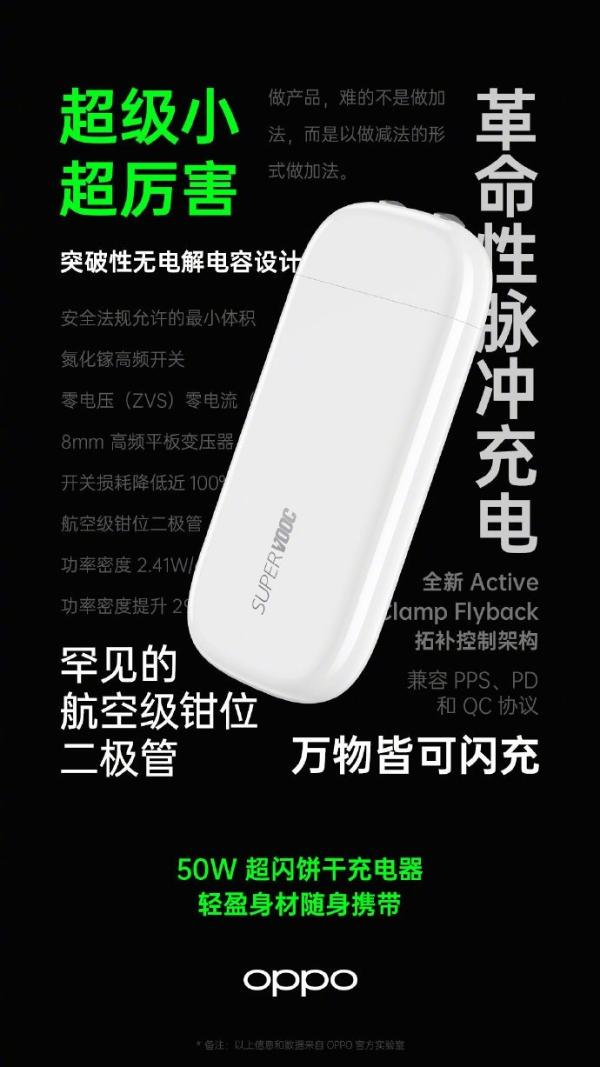 OPPO 50W饼干充电器开卖定了:厚度只有1厘米