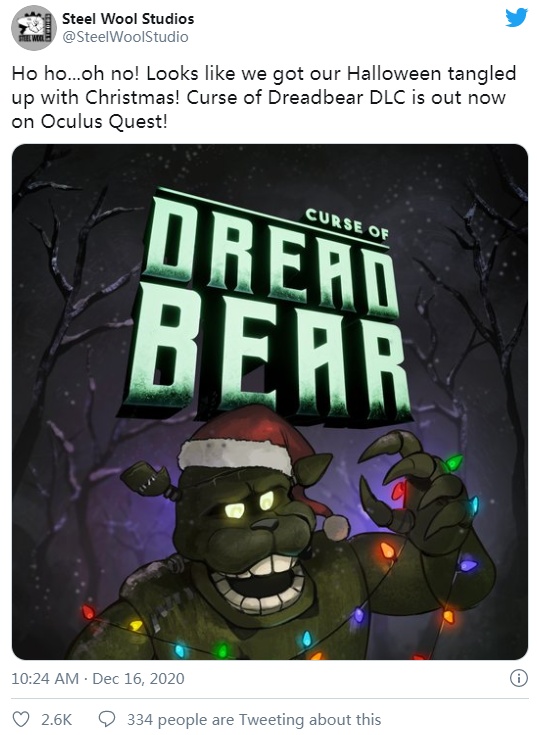 "VR恐怖游戏「玩具熊的五夜后宫:救命」""弗雷迪的诅咒""DLC上线Oculus Quest"