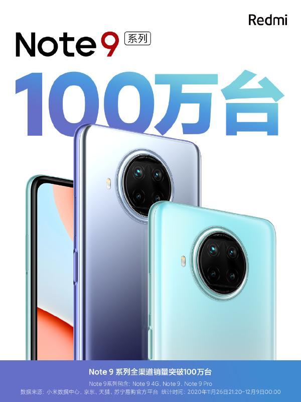 Redmi Note 9系列销量突破百万:999元起
