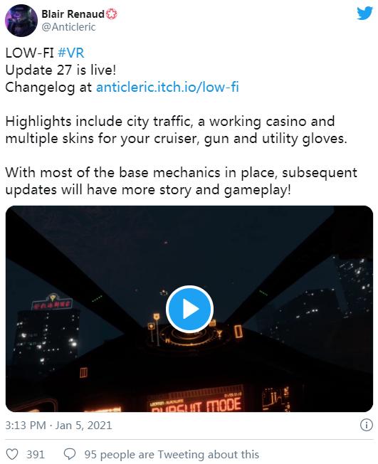 赛博朋克题材PCVR冒险游戏「Low-Fi」发布最新更新