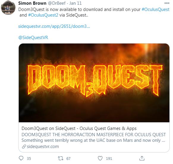 英国MOD开发团队Beef推出「毁灭战士3」Oculus Quest版