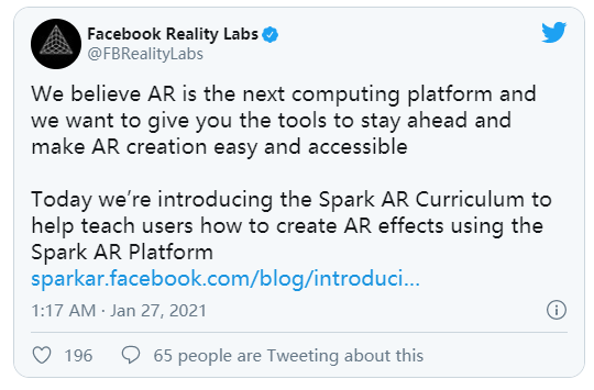 Facebook开放Spark AR课程注册,加速发展AR创作社区