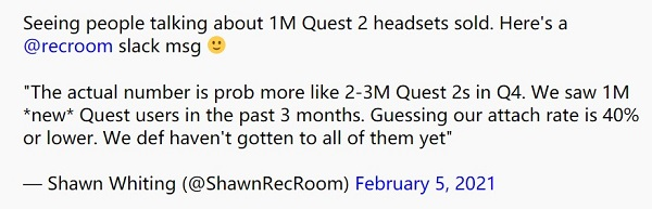 Rec Room Inc.估算Facebook在2020年第四季度售出200-300万台Quest 2