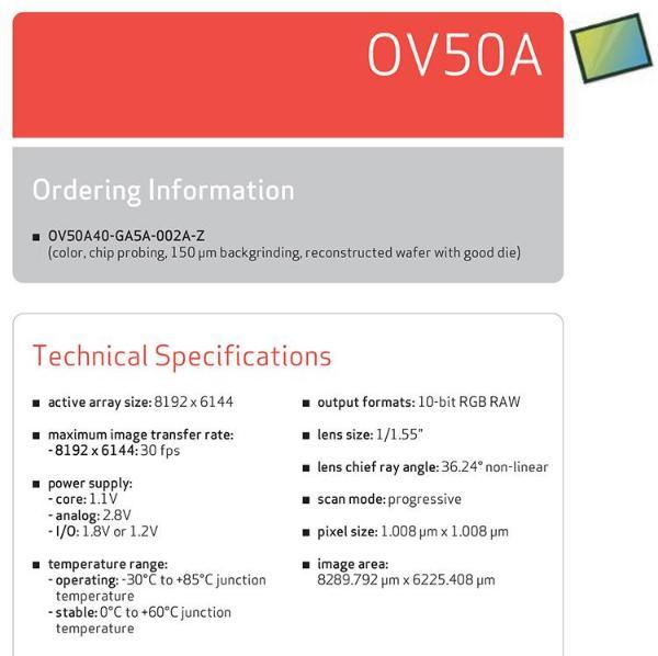 豪威推全新5000万像素传感器 规格看齐IMX766