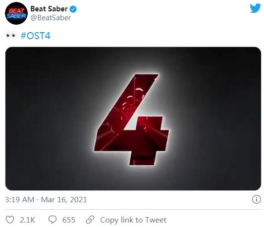 "VR节奏音游「Beat Saber」全新音乐DLC""OST 4""即将发布"