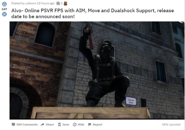 PSVR多人VR射击游戏「Alvo」即将发布