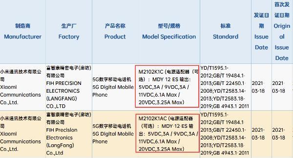 小米11 Pro两款新机获认证:无缘百瓦快充
