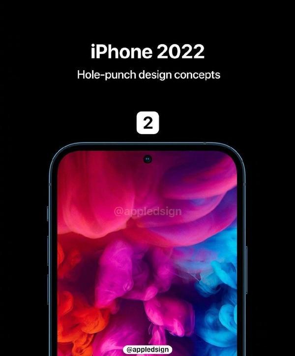 刘海屏没了!iPhone 13渲染图曝光:居中挖孔形态