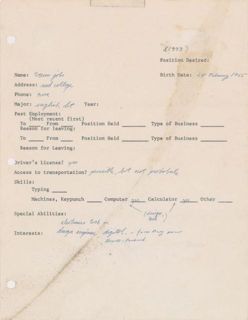 乔布斯早期求职表格拍卖:成交价22.24万美元