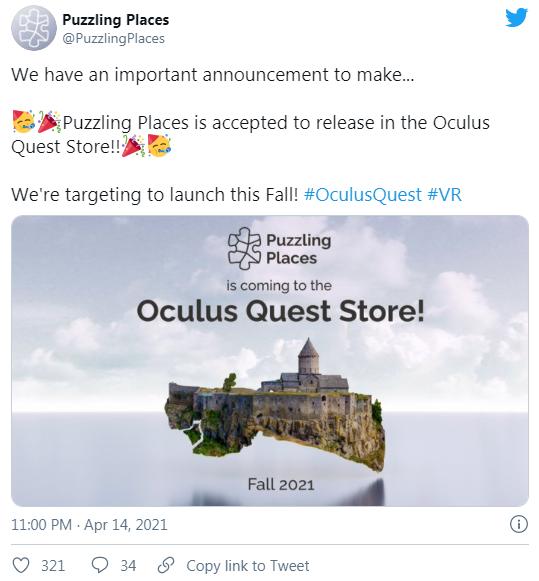 VR拼图游戏「Puzzling Places」即将登陆Oculus应用商店