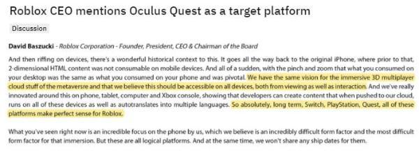 Roblox CEO Baszucki表示Quest平台将能完美诠释在线游戏创作的意义