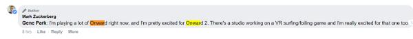"""扎克伯格""""确认""""热门多人VR射击游戏「Onward」续作「Onward 2」"""