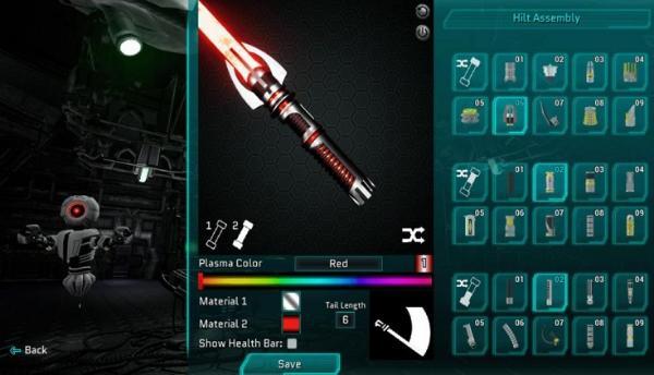 与机器人近战格斗!售价9.99美元。还必须使用光剑抵挡机器人敌人射出的光速子弹。                                <tt lang=