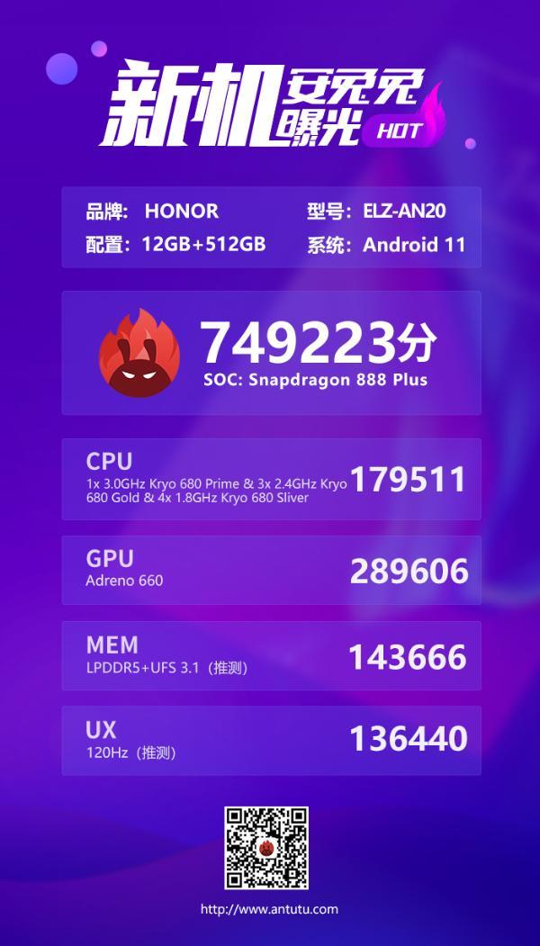 12+512GB 疑似荣耀Magic 3跑分曝光 骁龙888 Plus加持