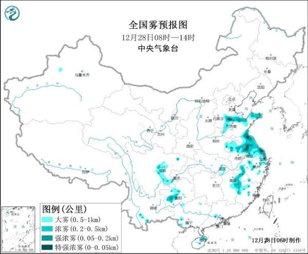 大雾黄色预警!山东安徽江苏等地局地有能见度低于50米特强浓雾