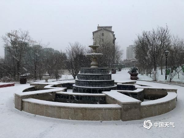 北京延慶已見明顯飄雪 銀裝素裹添寒意