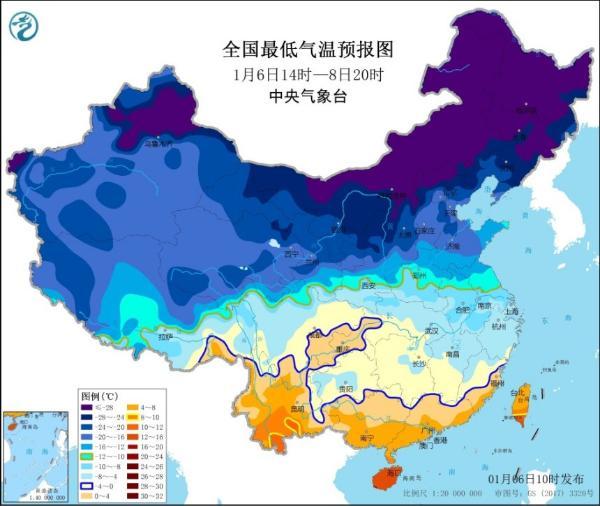 寒潮蓝色预警继续!最低气温0℃线将南压至华南北部