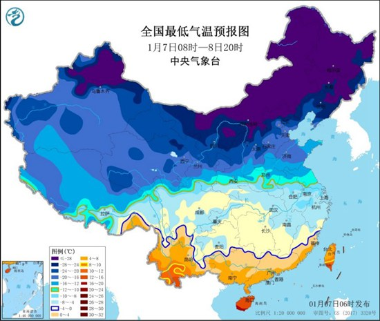 寒潮蓝色预警:安徽江西浙江福建等部分地区降温可达10℃