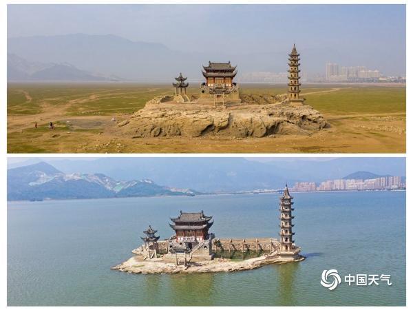 江西省鄱阳湖罗兴码头的水面比往年推迟了两个多月