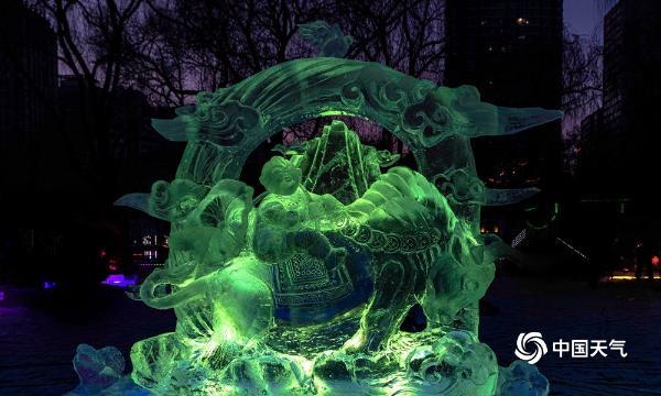 """五彩斑斓!哈尔滨兆麟公园226座冰灯打造冰雪""""童话乐园"""""""