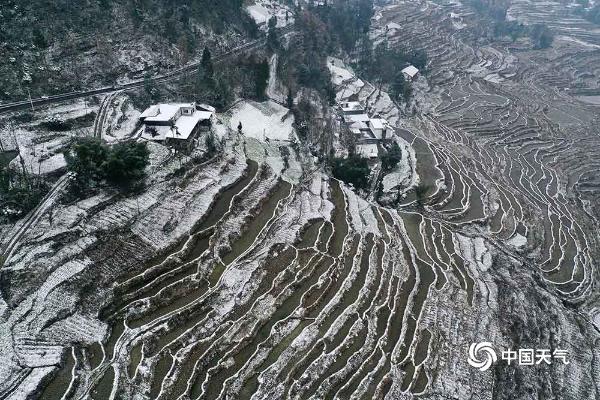 重庆黔江普降大雪 梯田被积雪覆盖美不胜收