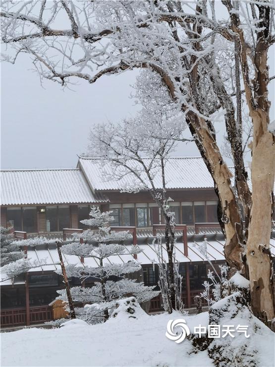 云南丽江玉龙雪山迎来降雪 变身洁白世界