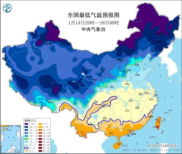 寒潮蓝色预警继续!中东部局地降温超12℃