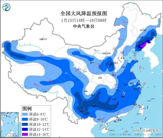 寒潮蓝色预警:东北和云南气温超过10°C 局部地区达到12°C
