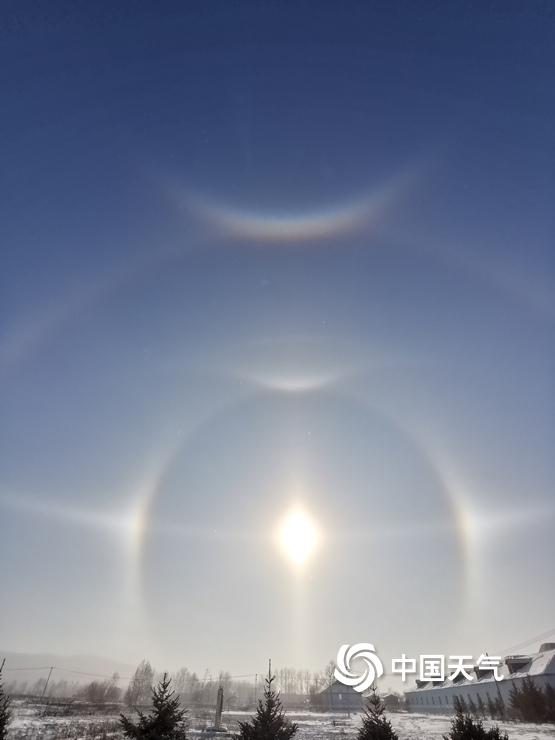 震撼!内蒙古呼伦贝尔出现罕见组合冰晕