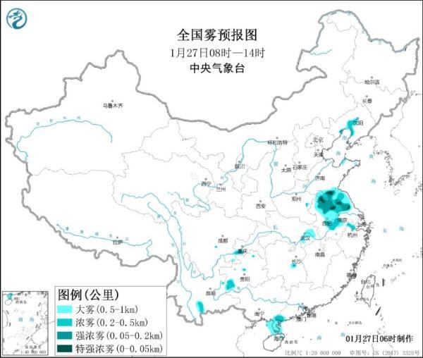黄雾预警!江苏、安徽等地部分地区浓雾弥漫
