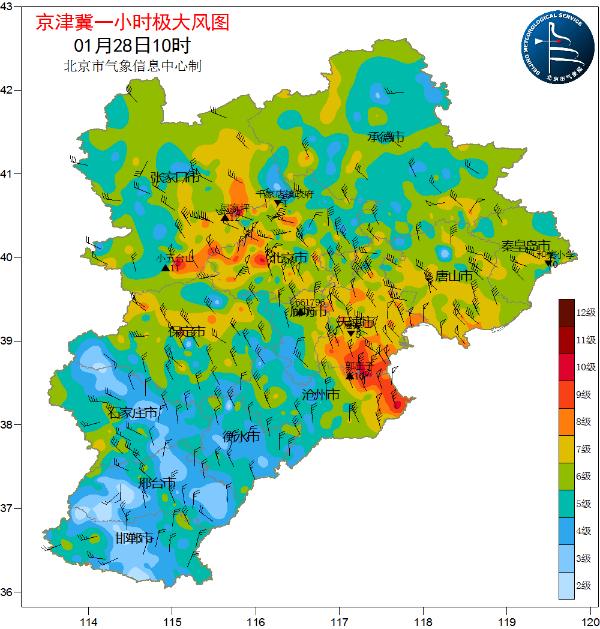 北风呼啸!今天早上 北京平谷的大风速打破了一月份的记录 晚上风力减弱