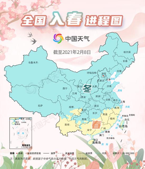 春天离长江流域不远!快速看看这张最新的国家春季流程图