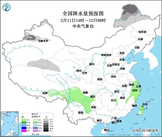 黄淮和华北其他地方的雾和霾 黑龙江、内蒙古和新疆的降雪