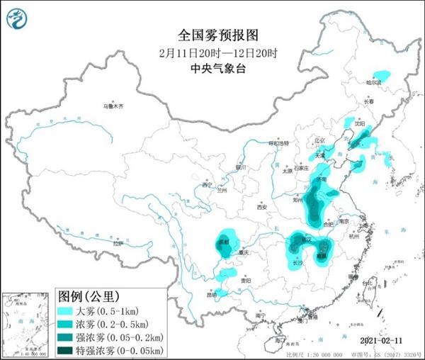 大雾黄色预警山东、湖北、四川等7省部分地区大雾弥漫