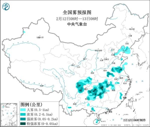大雾黄色预警:江苏湖北湖南等局地有特强浓雾