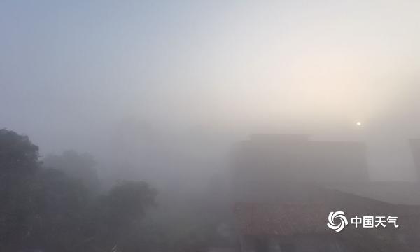 元旦 广西来宾黔江镇大雾弥漫