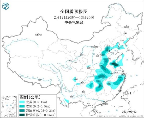 大雾黄色预警继续!江苏湖北湖南等局地有特强浓雾